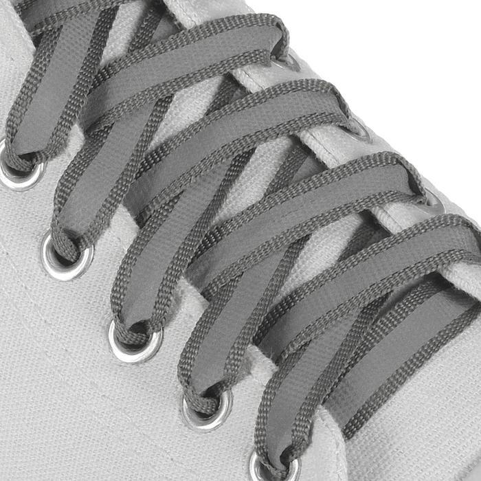 Шнурки для обуви, пара, плоские, со светоотражающей полосой, 10 мм, 100 см, цвет серый