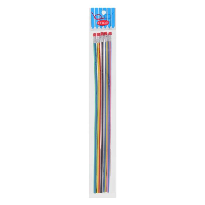 Набор карандашей чернографитных, гнущиеся, с ластиками, 5 шт., «Полоски», 30 см, МИКС