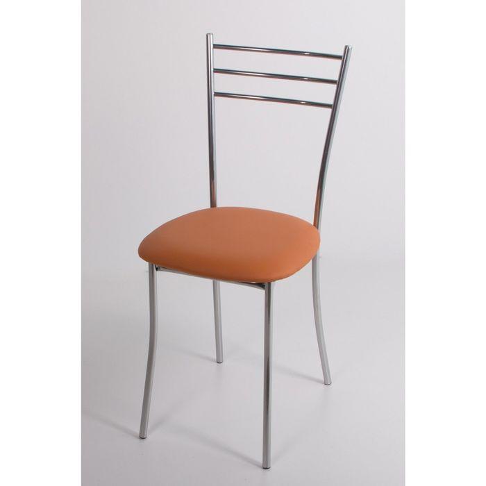 Стул на металлокаркасе Хлоя СТ хром люкс/оранжевый