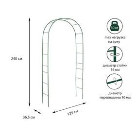 Арка садовая, разборная, 240 × 125 × 36,5 см, металл, зелёная Ош