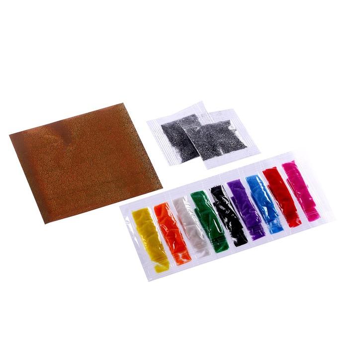 Набор для творчества. Фреска песком «Сказочный сад» + 9 цветов песка по 4 гр, блёстки, стека