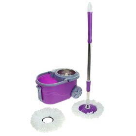 Набор для уборки: швабра, ведро на колёсах с металлической центрифугой 14 л, запасная насадка из микрофибры, дозатор, цвет МИКС Ош