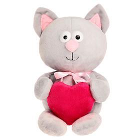 Мягкая игрушка «Котик с сердцем», цвет серый, 30 см