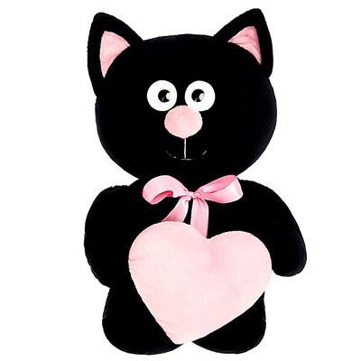 Мягкая игрушка «Котик с сердцем», цвет чёрный, 30 см
