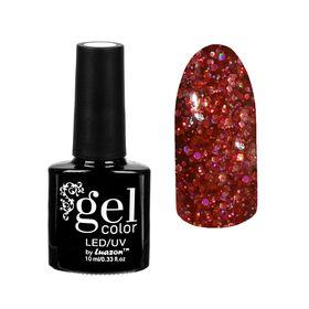 """Гель-лак для ногтей """"Искрящийся бриллиант"""", трёхфазный LED/UV, 10мл, цвет 010 красный"""