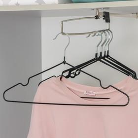 Вешалка-плечики для одежды Доляна, размер 40-44, антискользящее покрытие, цвет чёрный