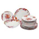 Сервиз столовый Fruits Bouquet, 19 предметов: тарелка десертная 6 шт, тарелка обеденная 6 шт, тарелка глубокая для супа 6 шт, салатник 1 шт