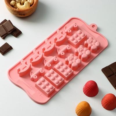 Форма для льда и шоколада Доляна «Детские игрушки», 21×11 см, 15 ячеек, цвет МИКС