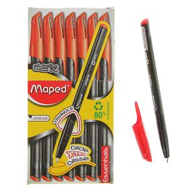 Ручка шариковая Green Dark, узел 0.6 мм, красные низкотекучие чёрнила, трехгранный корпус, одноразовая