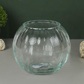 """Ваза """"Шар"""" риф. (диам.горл-8,5см) 13,5х11см из прозрачного стекла (без декора)"""