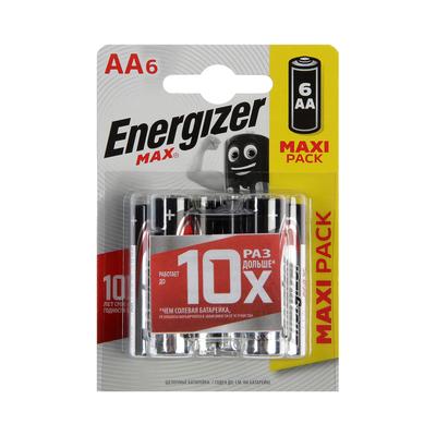 Батарейка алкалиновая Energizer Max +PowerSeal, AA, LR6-6BL, 1.5В, блистер, 6 шт.
