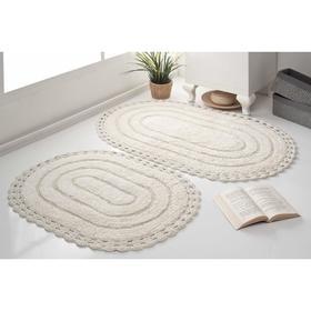 Набор ковриков для ванной MODALIN YANA, размер 60x100 см, 50x70 см, цвет кремовый