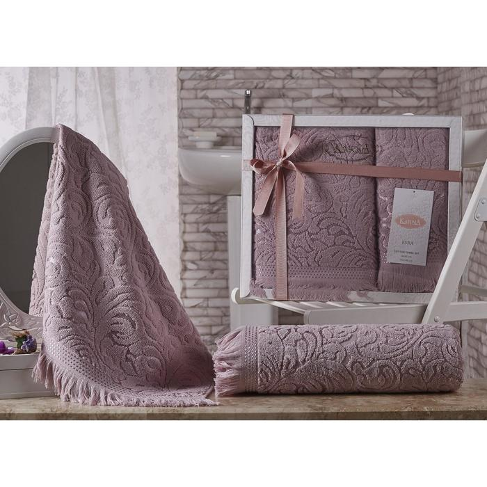 КМП Esra, размер 50 × 90 - 1 шт, 70 × 140 - 1 шт, цвет грязно-розовый