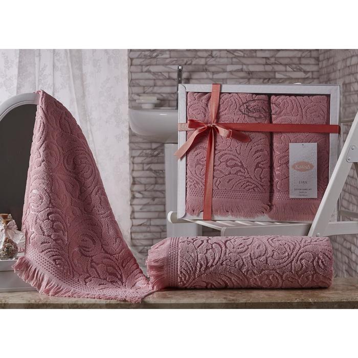 КМП Esra, размер 50 × 90 - 1 шт, 70 × 140 - 1 шт, цвет розовый