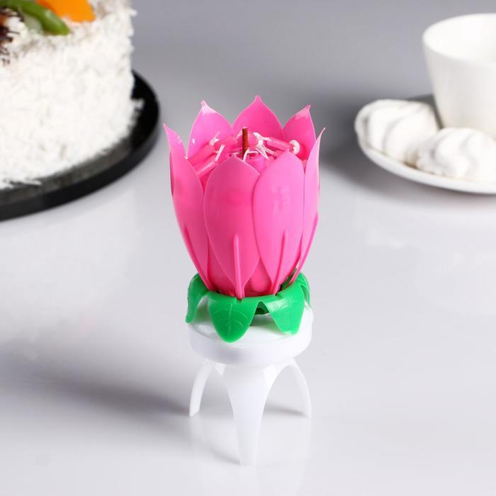 """Свеча для торта музыкальная """"Бутон"""", крутящаяся, розовая"""