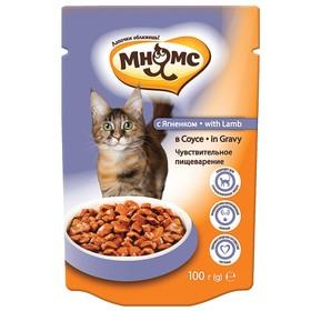 """Влажный корм """"Мнямс"""" для кошек, чувствительное пищеварение, ягненок в соусе, пауч, 100 г 221422"""