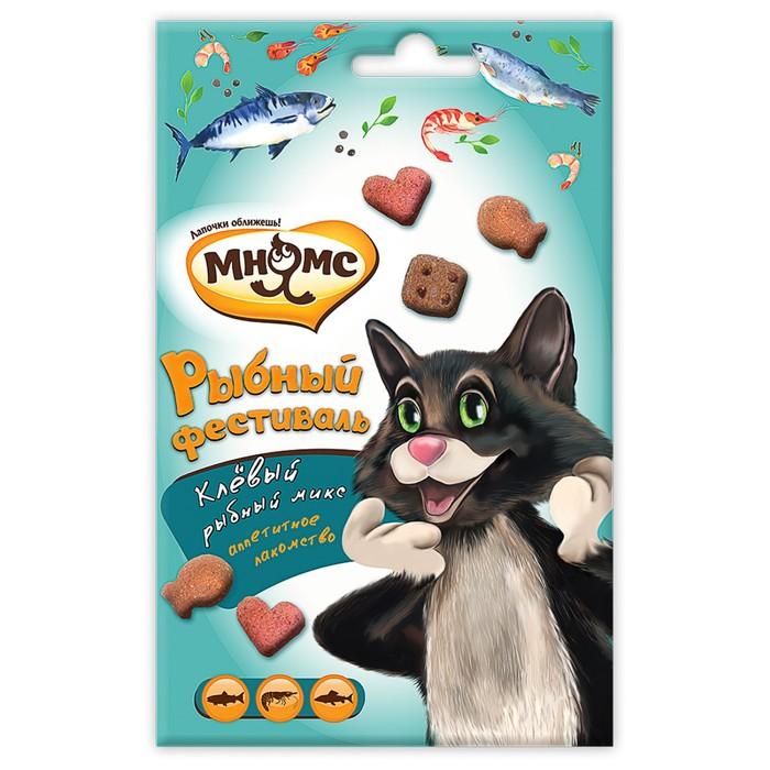Лакомство Мнямс Рыбный фестиваль для кошек, лосось, креветки, форель, 50 г