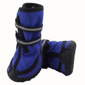 Ботинки высокие на липучках Triol для собак XL, светоотражающие, синие Ош