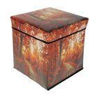 Короб для хранения (пуф) складной, 31×31×31 см, цвет коричневый
