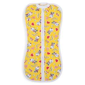 Пеленка-кокон на молнии, рост 50-62 см, кулирка, цв жёлтый, принт микс 1129_М