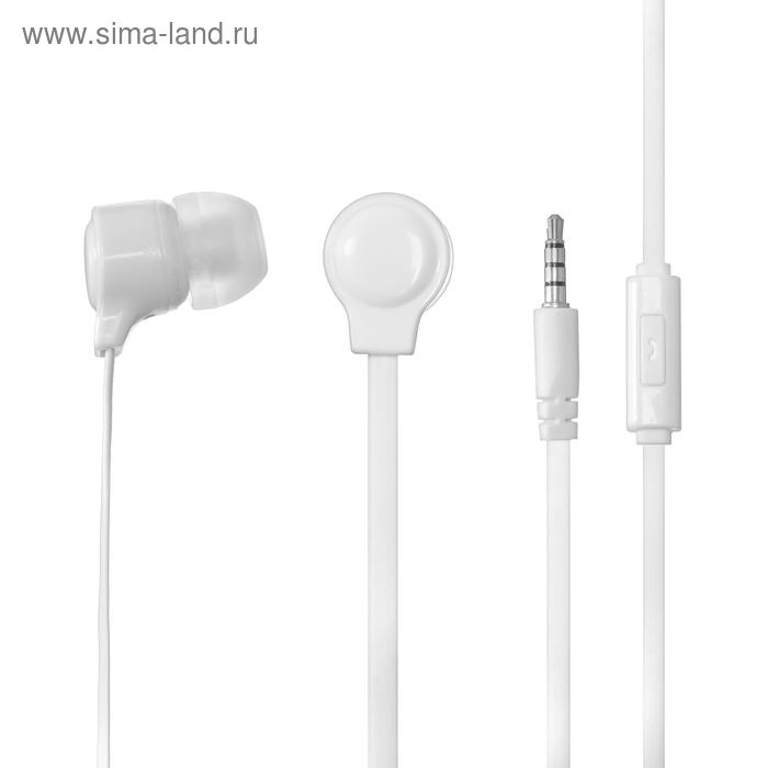 Наушники проводные Perfeo HANDY, вакуумные, микрофон, 24 Ом, 1.2 м, белые