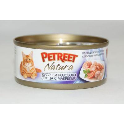 Влажный корм Petreet для кошек, кусочки розового тунца с макрелью, ж/б, 70 г