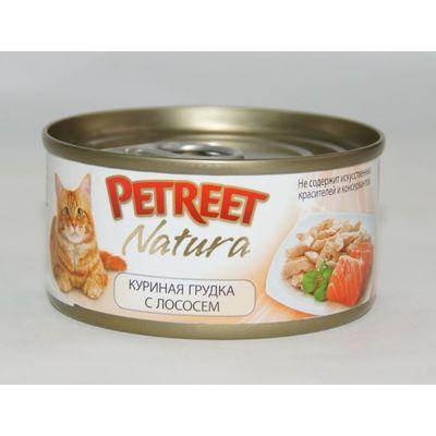 Влажный корм Petreet для кошек, куриная грудка с лососем, ж/б, 70 г