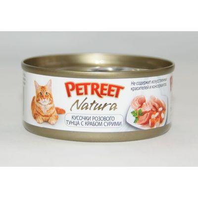 Влажный корм Petreet для кошек, кусочки розового тунца с крабом сурими, ж/б, 70 г