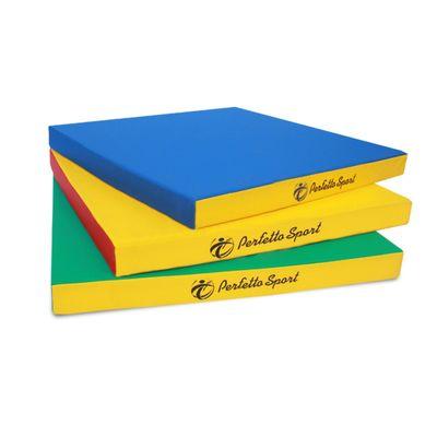 Мат PERFETTO SPORT, 100 х 100 х 10 см, синий/жёлтый