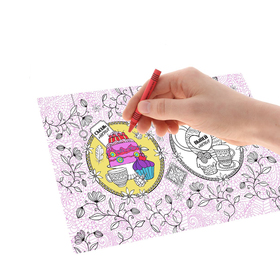 Раскраска антистресс, вкладка для термокружки 'Сладкое настроение', 4 рисунка Ош