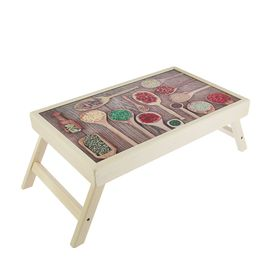 """Столик для завтрака """"Специи в ложках"""" стеклянная поверхность 50х30см"""