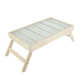 """Столик для завтрака """"Белое дерево"""" стеклянная поверхность 50х30см"""