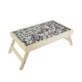 """Столик для завтрака """"Камни"""" стеклянная поверхность 50х30см"""