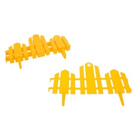 Декоративный забор для дачи и сада, 25 × 170 см, 5 секций, пластик, жёлтый, «Чудный сад» Ош