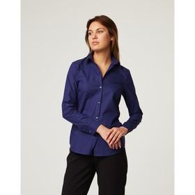 Рубашка женская прямая, размер 44, синий, хлопок 100% Ош