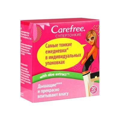 Прокладки ежедневные «Carefree» супертонкие с алоэ, 20 шт - Фото 1