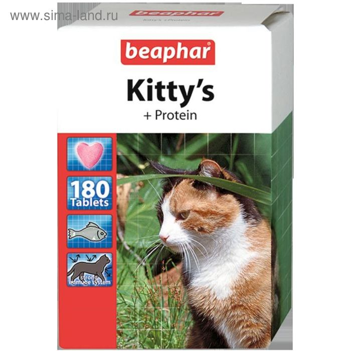 """Витамины Beaphar """"Kitty's"""" для кошек, протеин, 180 шт"""