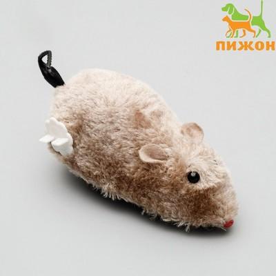 Мышь заводная меховая, 12 см, серая - Фото 1