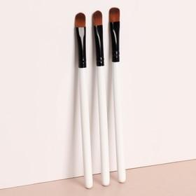 Набор кистей для макияжа, 13 см, 3 предмета, цвет белый