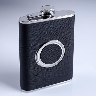 Фляжка 240 мл со складным стаканом 50 мл внутри, чёрная - Фото 1