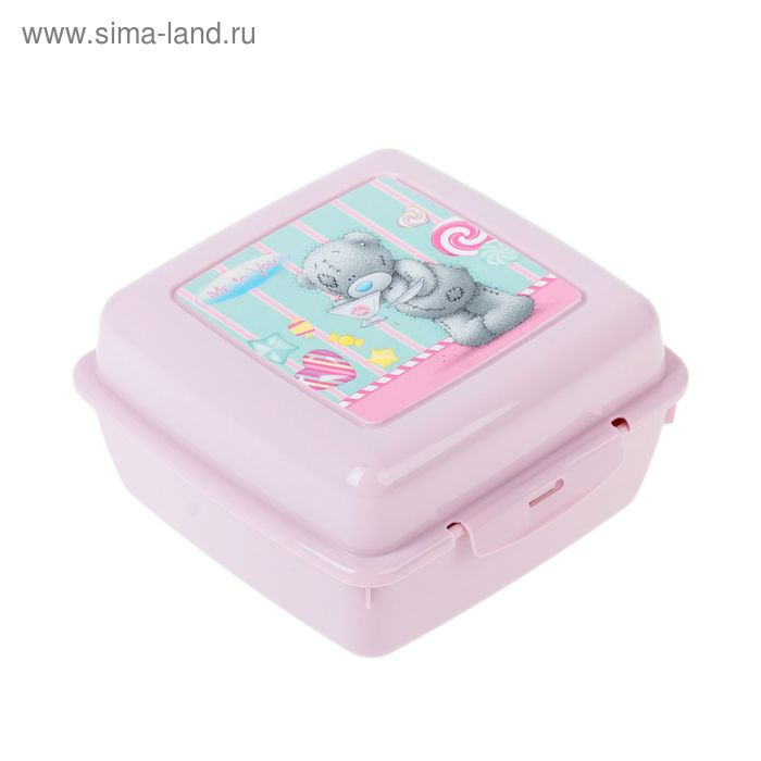 Контейнер для бутербродов с аппликацией ME TO YOU, 140х140х75 мм, цвет розовый, рисунок МИКС