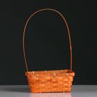 Корзина плетёная, бамбук, оранжевая, прямоугольная, средняя