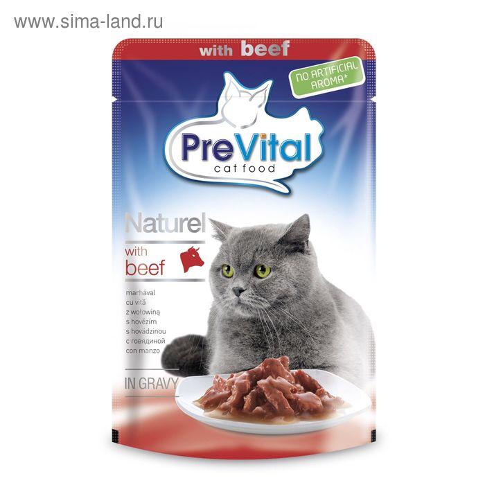 Влажный корм PreVital Naturel для кошек, кусочки в соусе с говядиной, пауч., 85 г.
