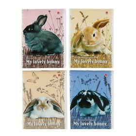 Блокнот А7, 40 листов на скрепке «Милые крольчата», микс из 4-х видов
