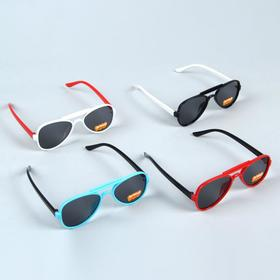Очки солнцезащитные детские 'Авиаторы', оправа МИКС, линзы чёрные, 13 × 4 × 2.5 см Ош