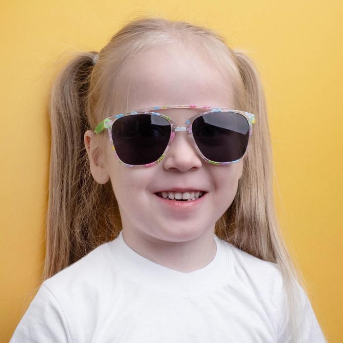 Очки солнцезащитные детские Square, оправа с цветком, дужки и стёкла МИКС, 12.5  4.5  2.5 см