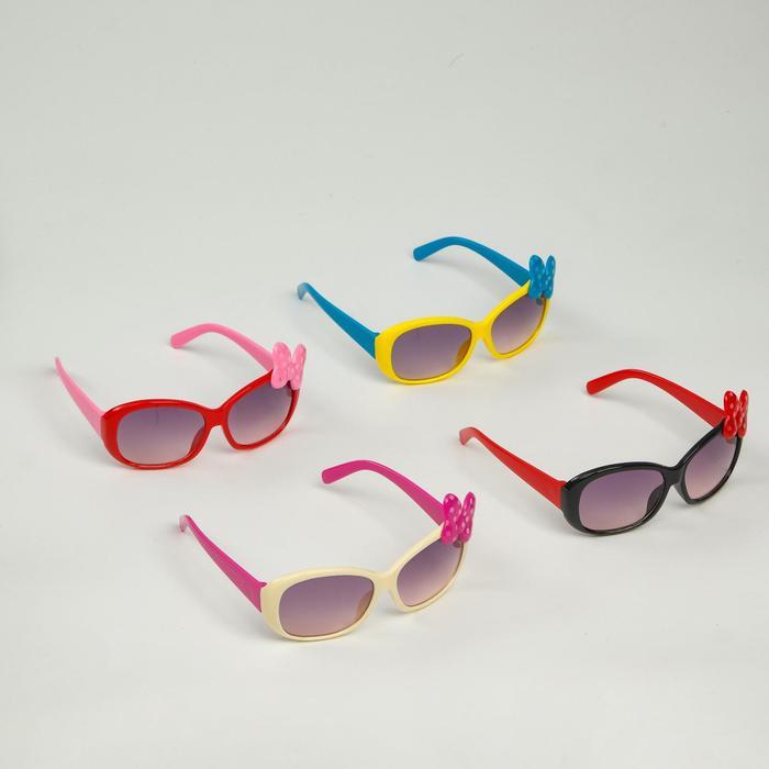 Очки солнцезащитные детские Square, оправа с бантом в горошек, МИКС, 12  5.5  3.5 см