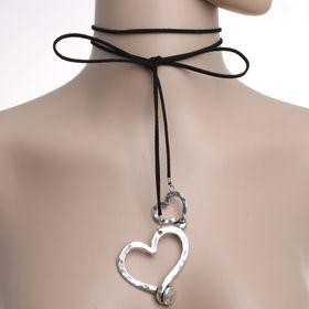 Чокер 'Сердце' дуэт, цвет чернёное серебро 80 см (трансформер) Ош