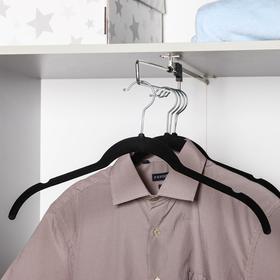 Вешалка-плечики для одежды, размер 44-46, флокированное покрытие, цвет чёрный
