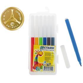 Фломастеры 6 цветов Стамм «Веселые игрушки», смываемые, линия письма 400 м, в пенале, европодвес
